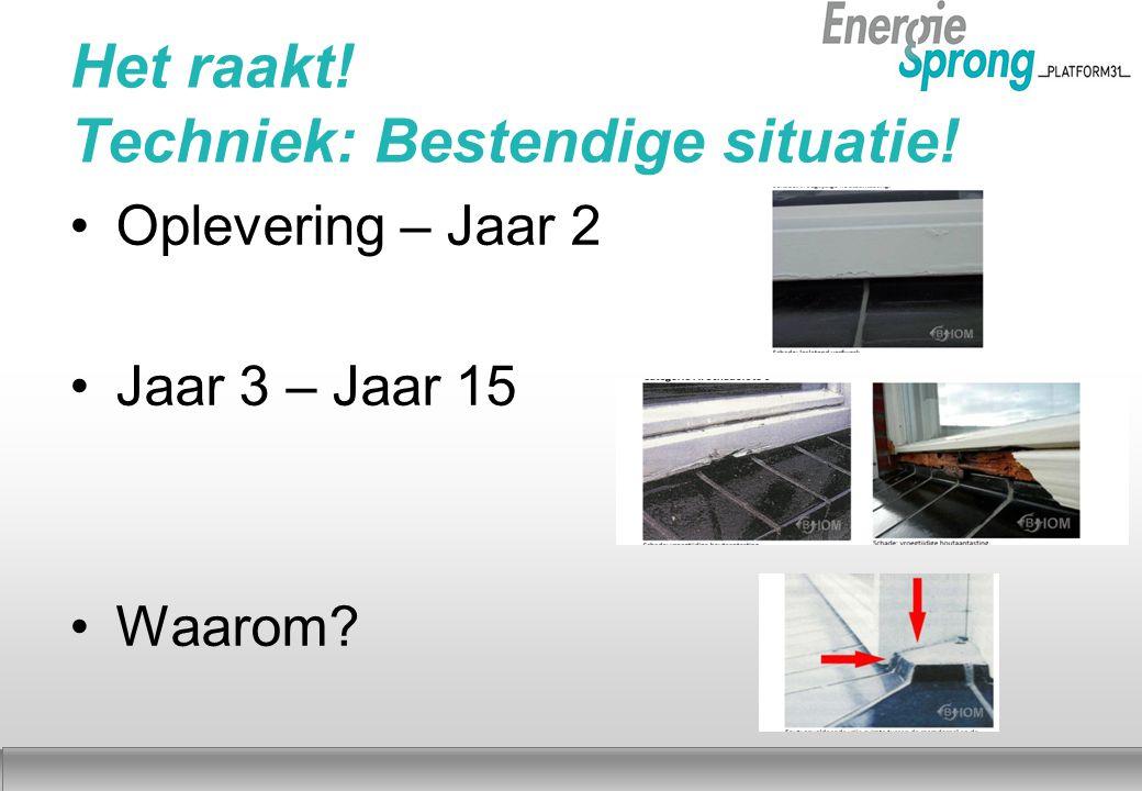 Najaar 2012 Het raakt! Techniek: Bestendige situatie! Oplevering – Jaar 2 Jaar 3 – Jaar 15 Waarom
