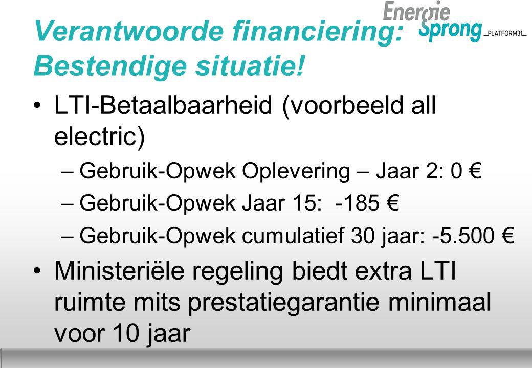 Najaar 2012 Verantwoorde financiering: Bestendige situatie! LTI-Betaalbaarheid (voorbeeld all electric) –Gebruik-Opwek Oplevering – Jaar 2: 0 € –Gebru