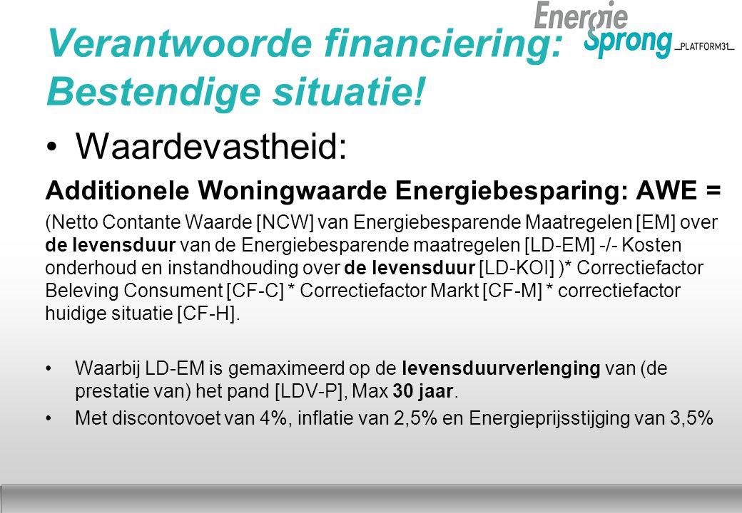 Najaar 2012 Verantwoorde financiering: Bestendige situatie! Waardevastheid: Additionele Woningwaarde Energiebesparing: AWE = (Netto Contante Waarde [N
