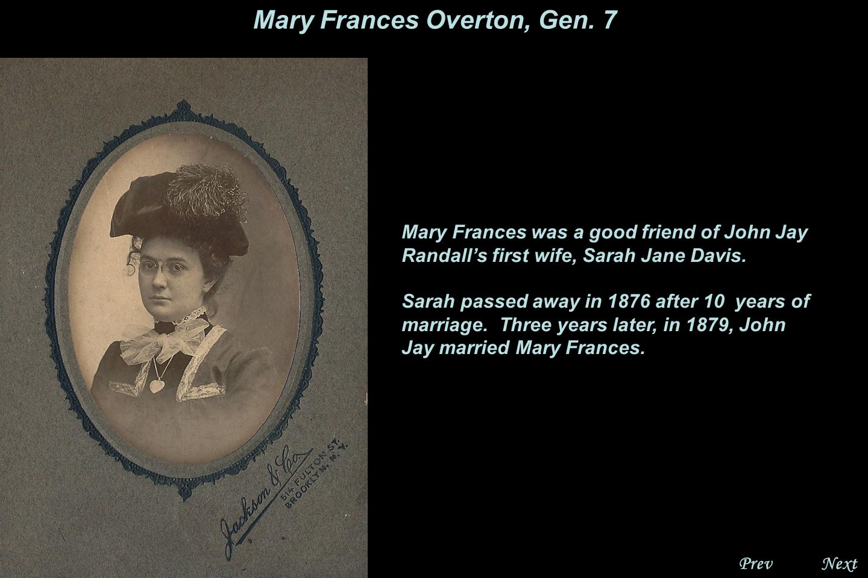 NextPrev. Mary Frances Overton, Gen. 7