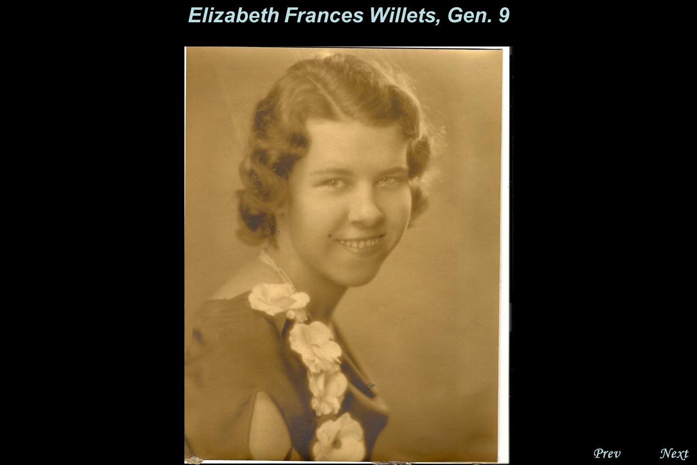 NextPrev. Elizabeth Frances Willets, Gen. 9