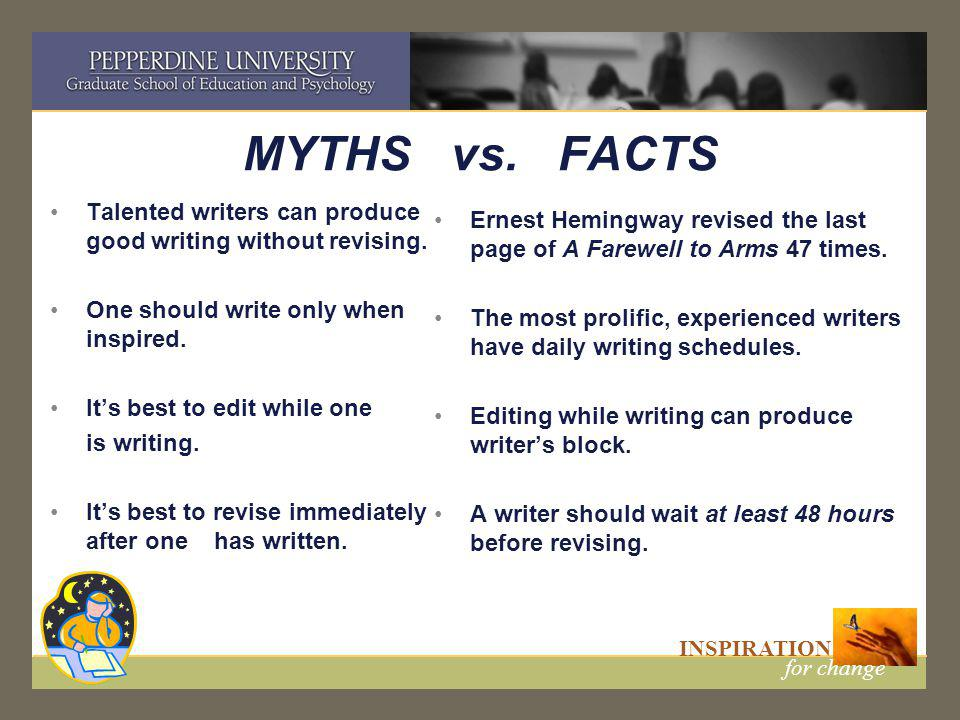 INSPIRATION for change MYTHS vs. FACTS Talented writers can produce good writing without revising.