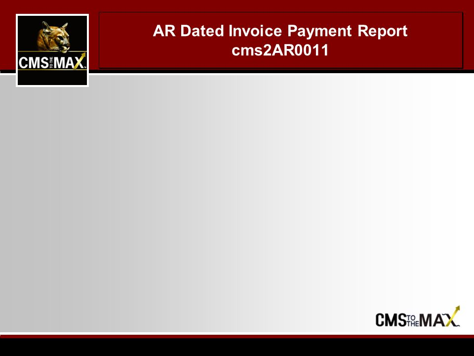 AR Dated Invoice Payment Report cms2AR0011