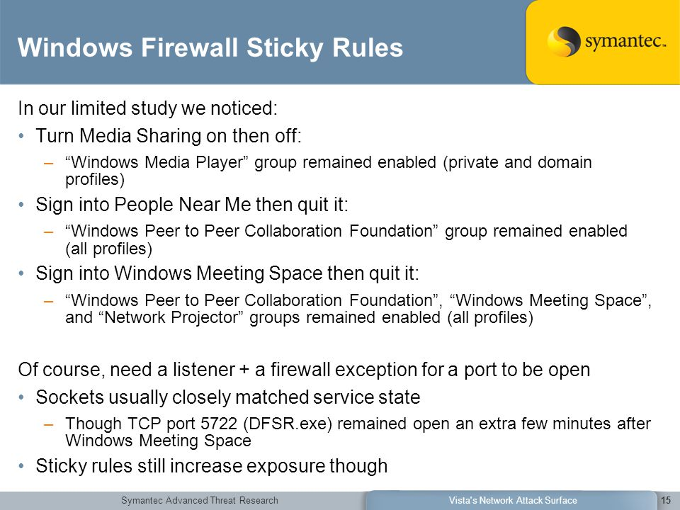 Symantec Advanced Threat ResearchVista's Network Attack Surface15 Windows Firewall Sticky Rules In our limited study we noticed: Turn Media Sharing on