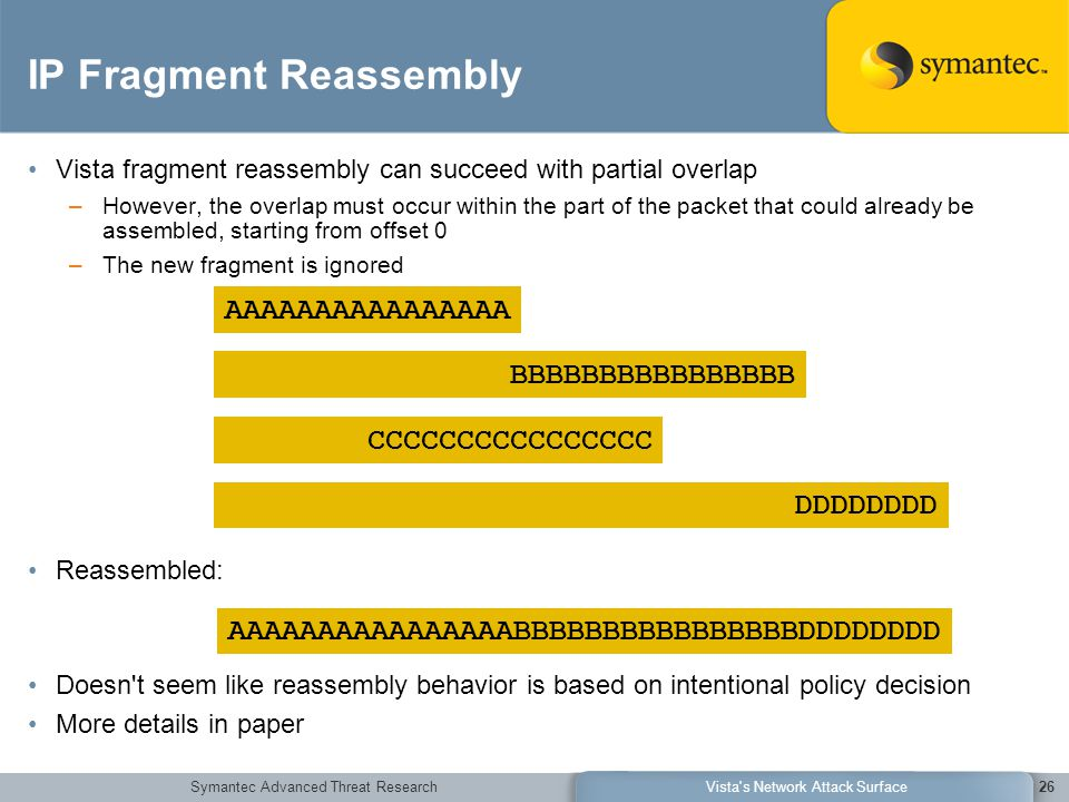 Symantec Advanced Threat ResearchVista s Network Attack Surface26 IP Fragment Reassembly Vista fragment reassembly can succeed with partial overlap –However, the overlap must occur within the part of the packet that could already be assembled, starting from offset 0 –The new fragment is ignored Reassembled: Doesn t seem like reassembly behavior is based on intentional policy decision More details in paper AAAAAAAAAAAAAAAABBBBBBBBBBBBBBBBDDDDDDDD AAAAAAAAAAAAAAAA BBBBBBBBBBBBBBBB CCCCCCCCCCCCCCCC DDDDDDDD