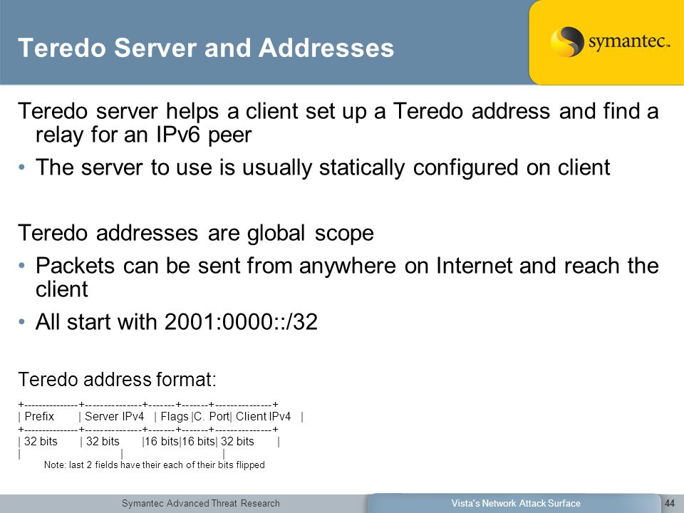 Symantec Advanced Threat ResearchVista s Network Attack Surface44 Teredo Server and Addresses Teredo server helps a client set up a Teredo address and find a relay for an IPv6 peer The server to use is usually statically configured on client Teredo addresses are global scope Packets can be sent from anywhere on Internet and reach the client All start with 2001:0000::/32 Teredo address format: +---------------+---------------+-------+-------+---------------+ | Prefix | Server IPv4 | Flags |C.