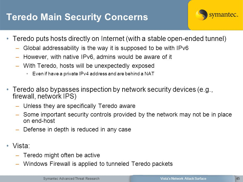 Symantec Advanced Threat ResearchVista's Network Attack Surface45 Teredo Main Security Concerns Teredo puts hosts directly on Internet (with a stable