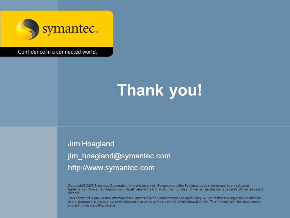 Symantec Advanced Threat ResearchVista's Network Attack Surface64 Copyright © 2007 Symantec Corporation. All rights reserved. Symantec and the Symante