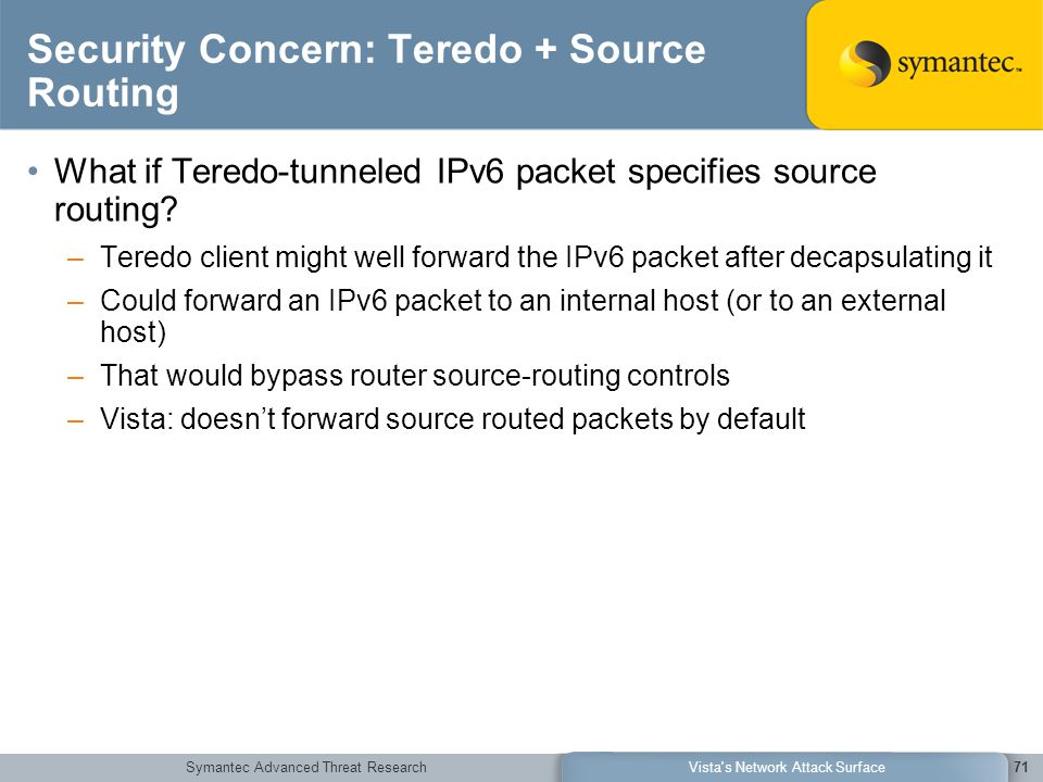 Symantec Advanced Threat ResearchVista's Network Attack Surface71 Security Concern: Teredo + Source Routing What if Teredo-tunneled IPv6 packet specif