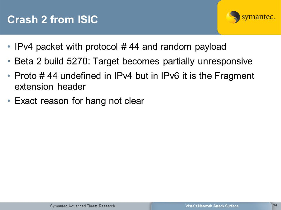 Symantec Advanced Threat ResearchVista's Network Attack Surface75 Crash 2 from ISIC IPv4 packet with protocol # 44 and random payload Beta 2 build 527