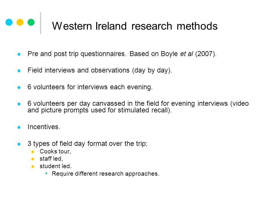 Western Ireland research methods Pre and post trip questionnaires.
