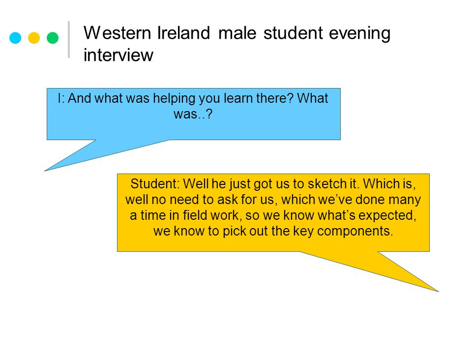 Western Ireland male student evening interview I: And what was helping you learn there.