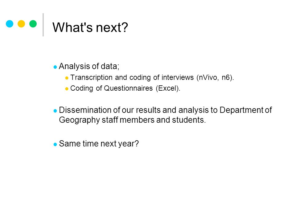 What s next. Analysis of data; Transcription and coding of interviews (nVivo, n6).
