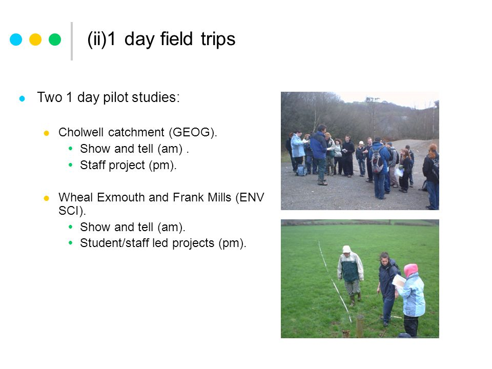 (ii)1 day field trips Two 1 day pilot studies: Cholwell catchment (GEOG).
