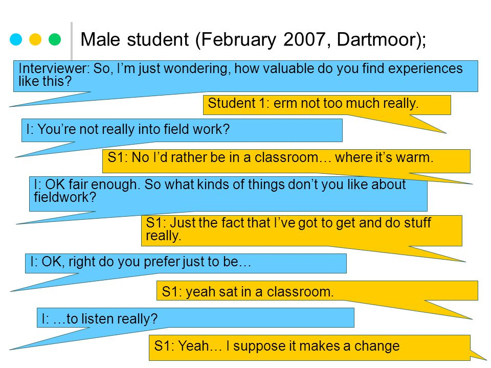 Male student (February 2007, Dartmoor); Interviewer: So, I'm just wondering, how valuable do you find experiences like this.
