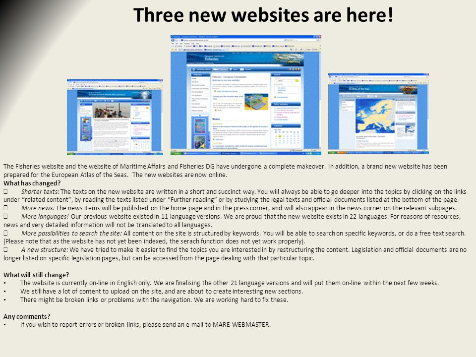 Three new websites are here.