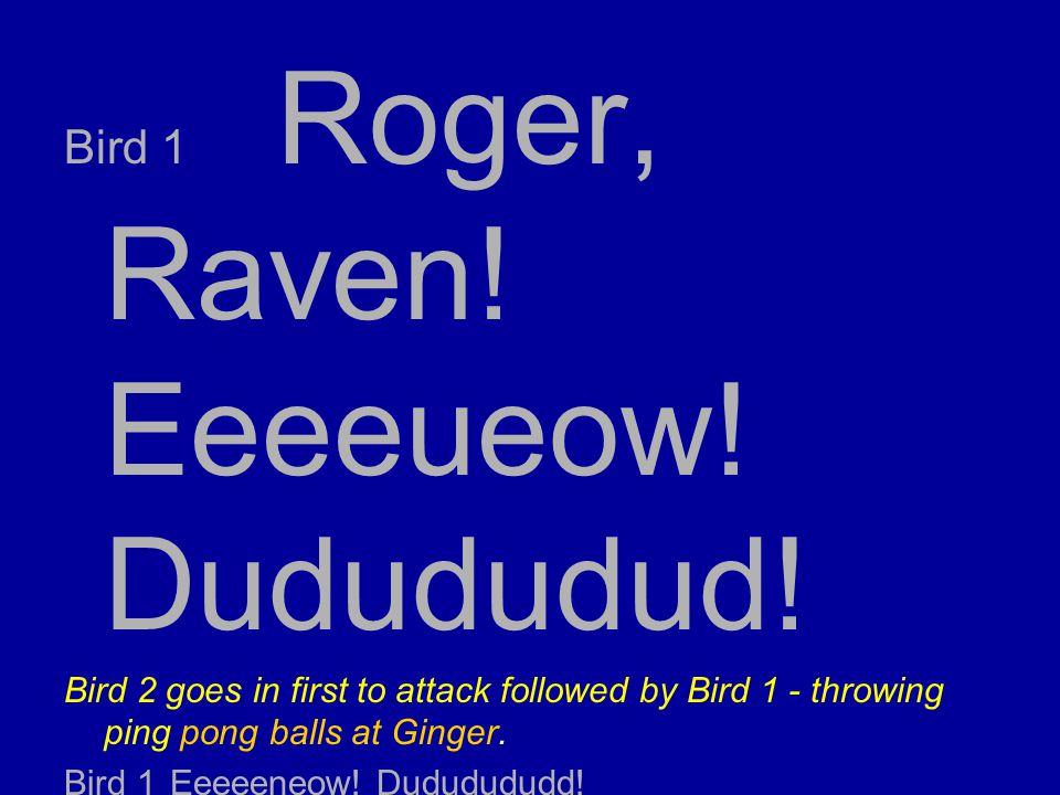 Bird 1 Roger, Raven. Eeeeueow. Dudududud.