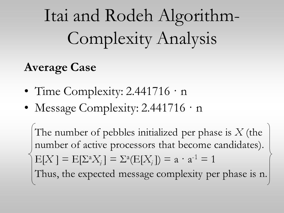 Itai and Rodeh Algorithm- Complexity Analysis Average Case Time Complexity: 2.441716 · n Message Complexity: 2.441716 · n The number of pebbles initialized per phase is X (the number of active processors that become candidates).
