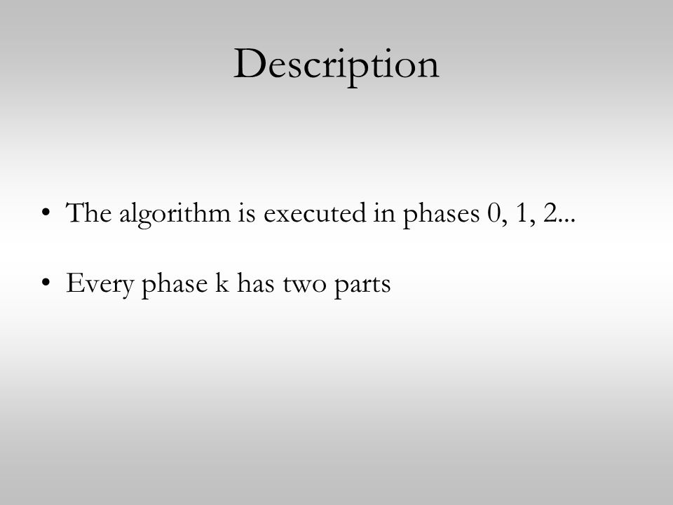 Description The algorithm is executed in phases 0, 1, 2... Every phase k has two parts