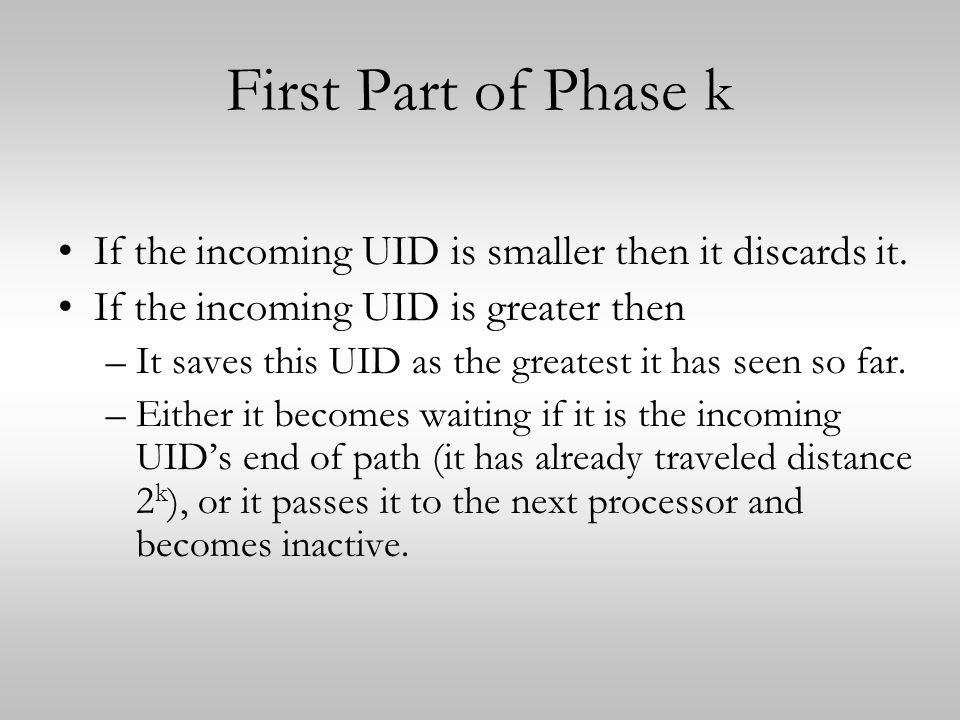 First Part of Phase k If the incoming UID is smaller then it discards it.