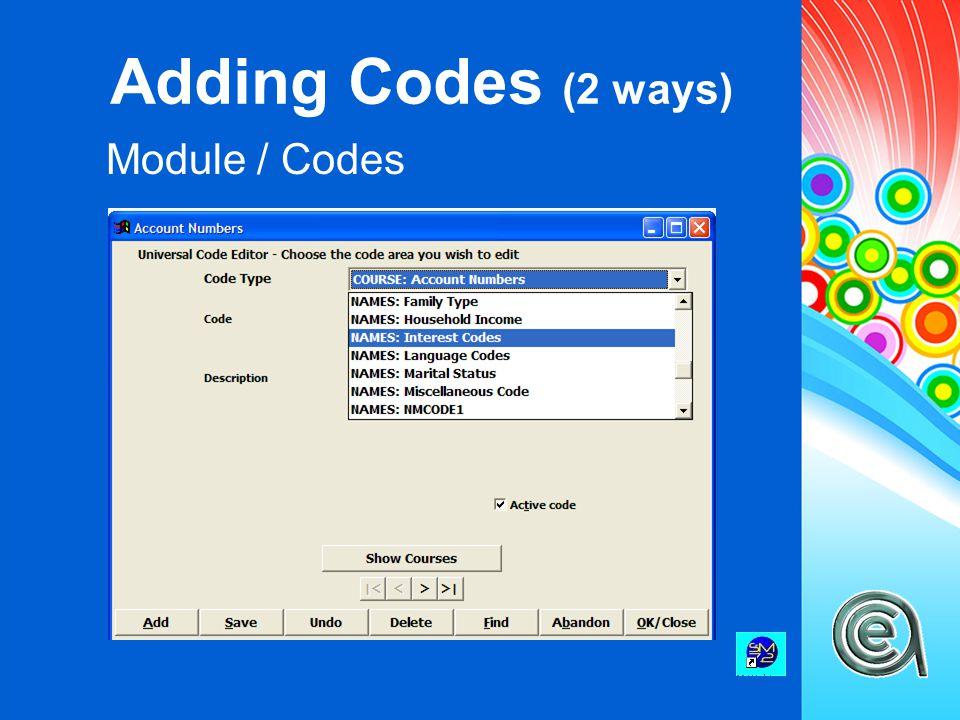 Adding Codes (2 ways) Module / Codes
