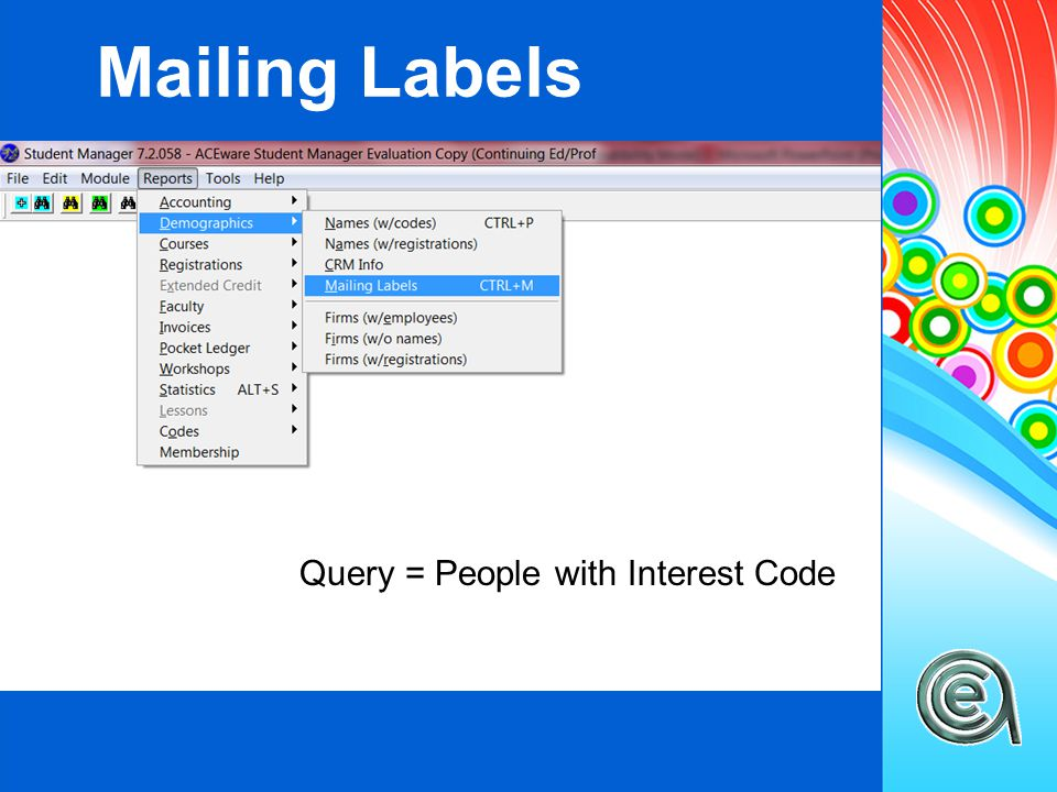 Mailing Labels Query = People with Interest Code