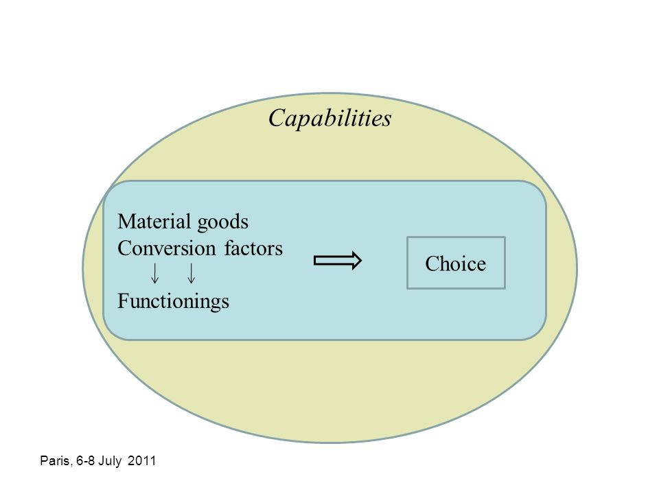 Material goods Conversion factors Functionings Capabilities Choice