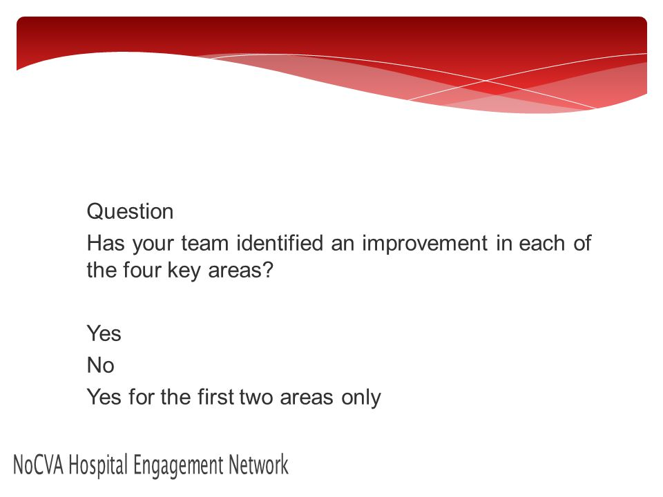 NoCVA Hospital Engagement Network Question Has your team identified an improvement in each of the four key areas.