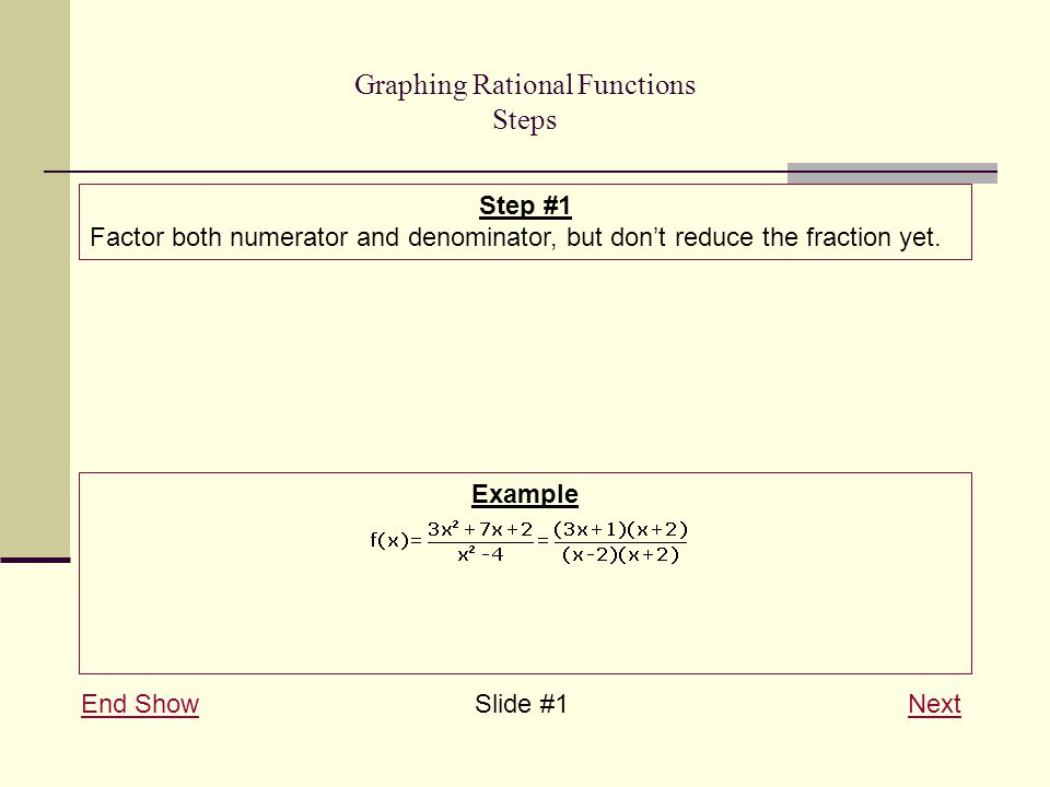 Graphing Rational Functions Steps End ShowEnd Show Slide #1 NextNext Step #1 Factor both numerator and denominator, but don't reduce the fraction yet.