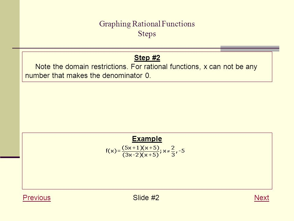 Graphing Rational Functions Steps PreviousPreviousSlide #2 NextNext Step #2 Note the domain restrictions.