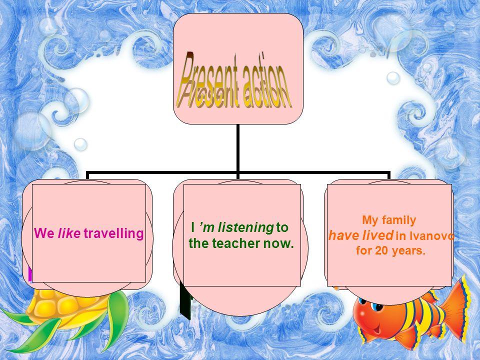 Обычное действие Именно в этот момент Только-что совершённое We like travelling I 'm listening to the teacher now.