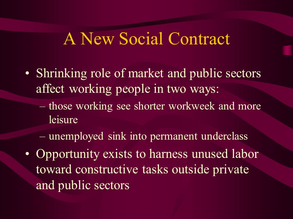 A New Social Contract Shrinking role of market and public sectors affect working people in two ways: –those working see shorter workweek and more leisure –unemployed sink into permanent underclass Opportunity exists to harness unused labor toward constructive tasks outside private and public sectors