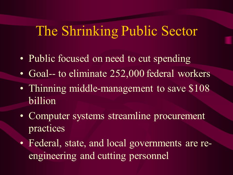 The Shrinking Public Sector Public focused on need to cut spending Goal-- to eliminate 252,000 federal workers Thinning middle-management to save $108 billion Computer systems streamline procurement practices Federal, state, and local governments are re- engineering and cutting personnel