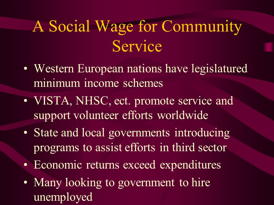 A Social Wage for Community Service Western European nations have legislatured minimum income schemes VISTA, NHSC, ect.