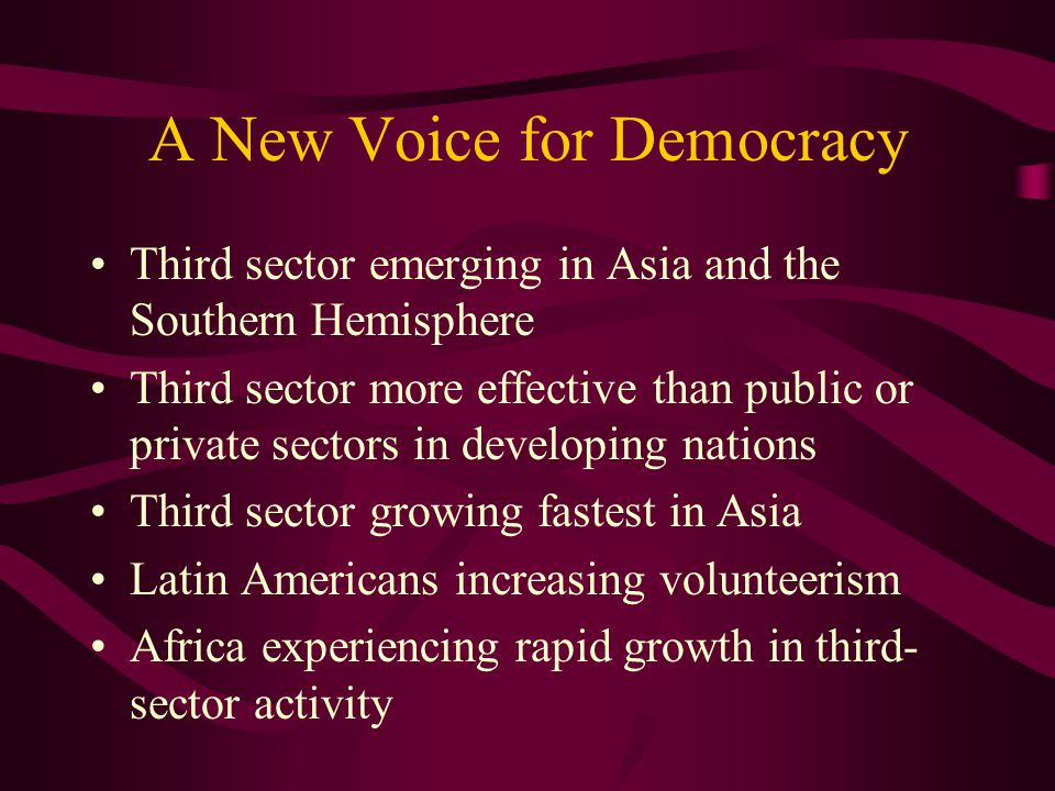 A New Voice for Democracy Third sector emerging in Asia and the Southern Hemisphere Third sector more effective than public or private sectors in developing nations Third sector growing fastest in Asia Latin Americans increasing volunteerism Africa experiencing rapid growth in third- sector activity