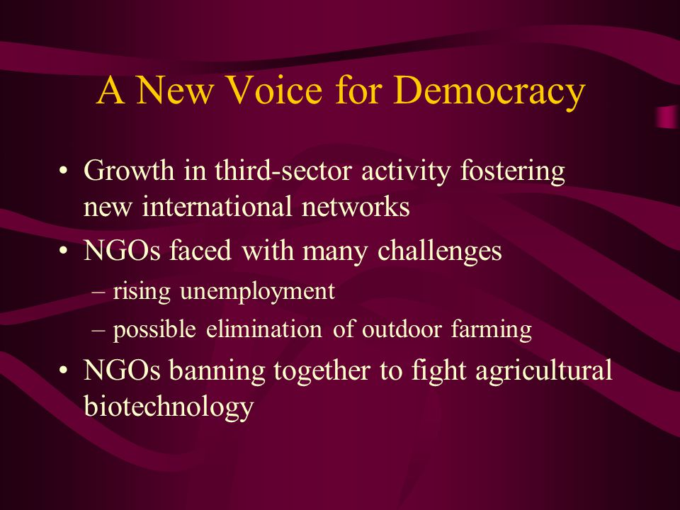 A New Voice for Democracy Growth in third-sector activity fostering new international networks NGOs faced with many challenges –rising unemployment –possible elimination of outdoor farming NGOs banning together to fight agricultural biotechnology