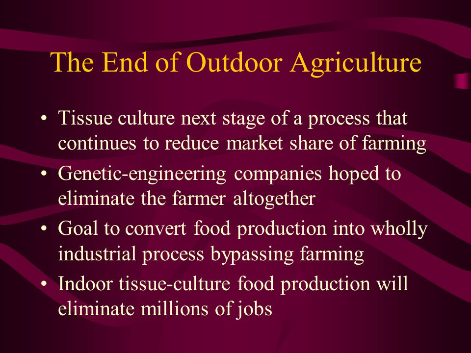 The End of Outdoor Agriculture Tissue culture next stage of a process that continues to reduce market share of farming Genetic-engineering companies hoped to eliminate the farmer altogether Goal to convert food production into wholly industrial process bypassing farming Indoor tissue-culture food production will eliminate millions of jobs