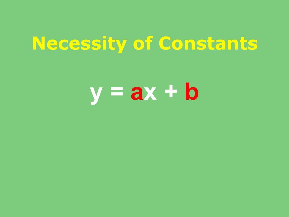 Necessity of Constants y = ax + b
