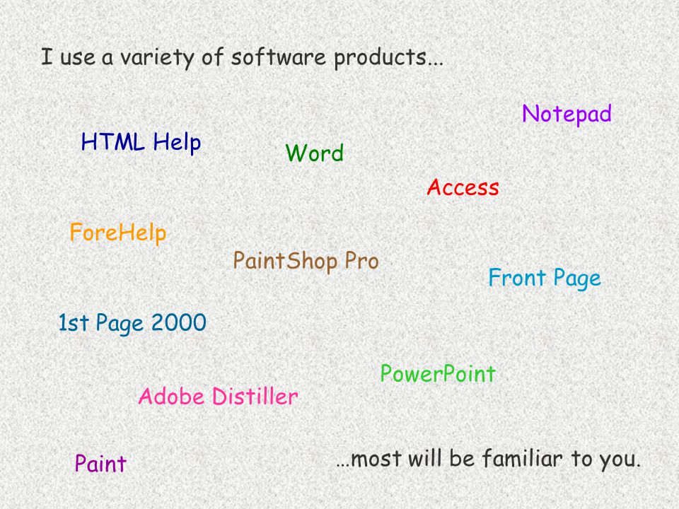 I use a variety of software products... …most will be familiar to you. PaintShop Pro Word PowerPoint Adobe Distiller Front Page Notepad 1st Page 2000