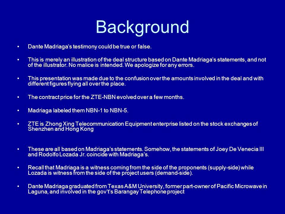 NBN-4 (cont'd) –On Dec 5, 2006 in Wack-Wack, the Mike Arroyo told Joe de Venecia in the presence of Abalos: Back off! Mike Arroyo joined the table of Ruben Reyes, Quirino de la Torre, Leo San Miguel, and Benjamin Abalos.