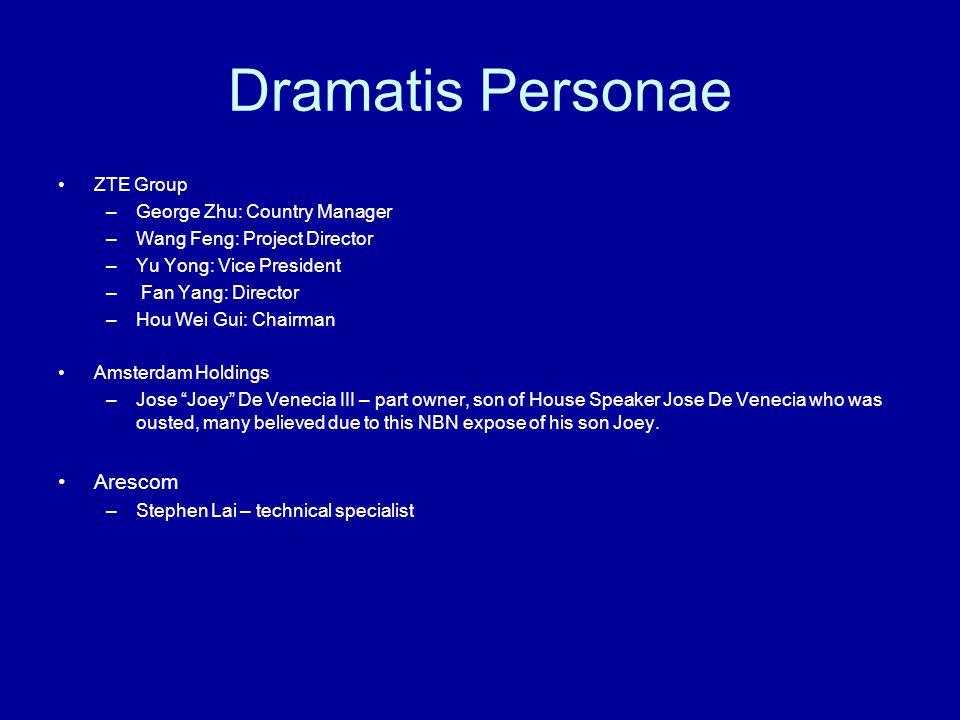 Dramatis Personae ZTE Group –George Zhu: Country Manager –Wang Feng: Project Director –Yu Yong: Vice President – Fan Yang: Director –Hou Wei Gui: Chai