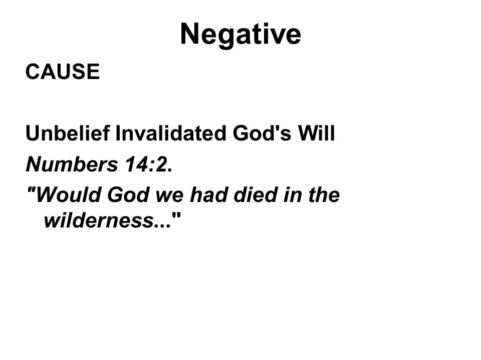 Negative CAUSE Unbelief Invalidated God's Will Numbers 14:2.