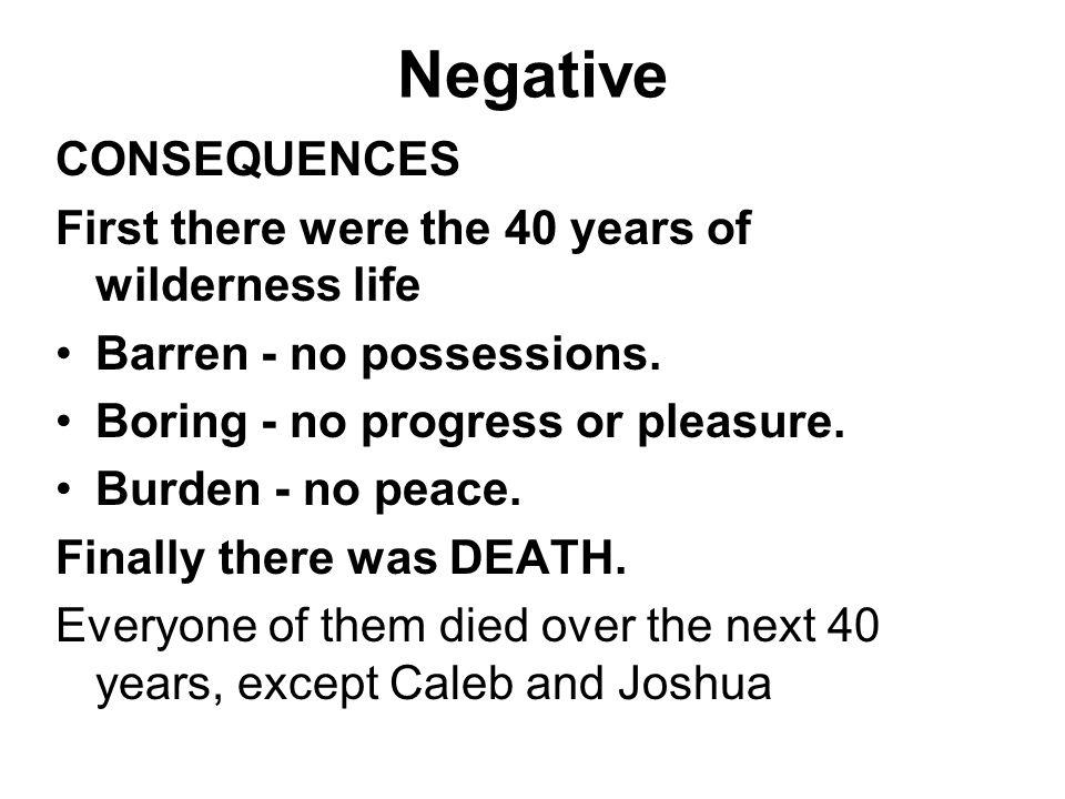 Negative CONSEQUENCES First there were the 40 years of wilderness life Barren - no possessions. Boring - no progress or pleasure. Burden - no peace. F