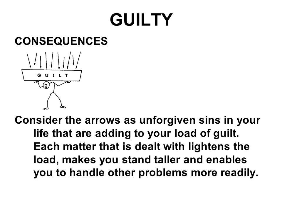 GUILTY CONSEQUENCES Consider the arrows as unforgiven sins in your life that are adding to your load of guilt. Each matter that is dealt with lightens
