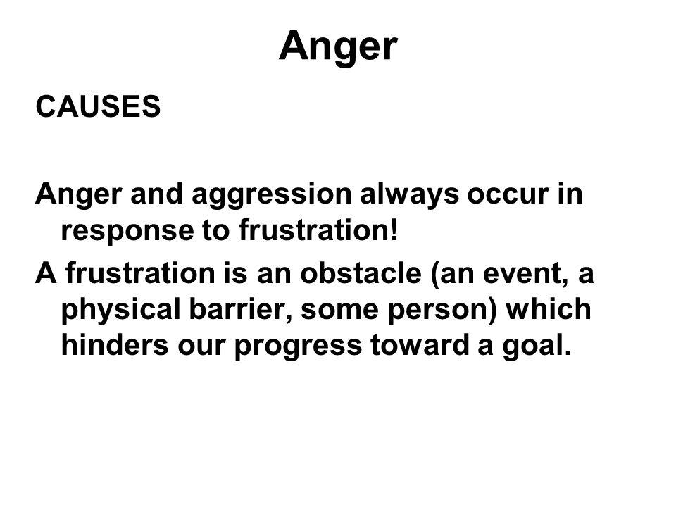 Anger CAUSES Anger and aggression always occur in response to frustration! A frustration is an obstacle (an event, a physical barrier, some person) wh