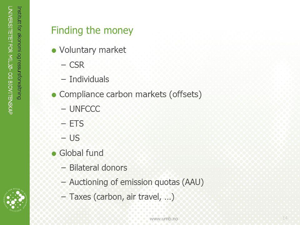 UNIVERSITETET FOR MILJØ- OG BIOVITENSKAP www.umb.no Finding the money  Voluntary market –CSR –Individuals  Compliance carbon markets (offsets) –UNFC