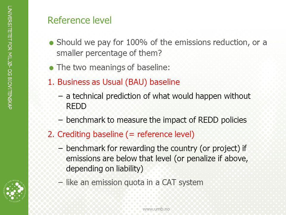 UNIVERSITETET FOR MILJØ- OG BIOVITENSKAP www.umb.no Reference level  Should we pay for 100% of the emissions reduction, or a smaller percentage of th