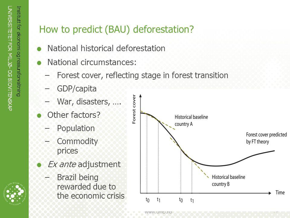UNIVERSITETET FOR MILJØ- OG BIOVITENSKAP www.umb.no Institutt for økonomi og ressursforvaltning 19 How to predict (BAU) deforestation?  National hist