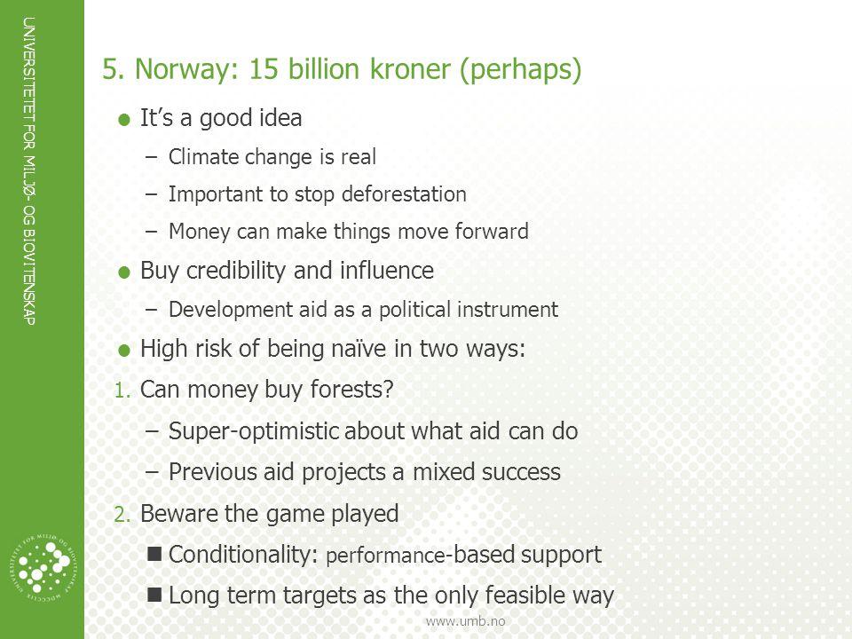 UNIVERSITETET FOR MILJØ- OG BIOVITENSKAP www.umb.no  It's a good idea –Climate change is real –Important to stop deforestation –Money can make things