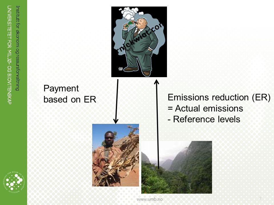 UNIVERSITETET FOR MILJØ- OG BIOVITENSKAP www.umb.no Institutt for økonomi og ressursforvaltning 7 Emissions reduction (ER) = Actual emissions - Refere